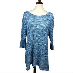 Jeanne Pierre Open Knit Pullover Tunic Sweater XL